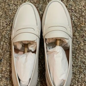 NWT White J.Crew Ryan penny loafers in leather